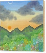 Sunset Over The Forest- Cloaked Mountains Wood Print
