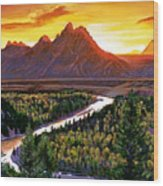 Sunset Over The Grand Tetons Wood Print