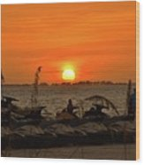Sunset Over The Gulf 1 Wood Print