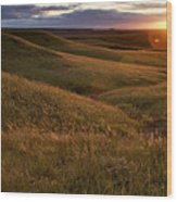 Sunset Over The Kansas Prairie Wood Print by Jim Richardson