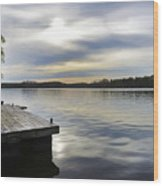 Sunset Over The Lake. Wood Print