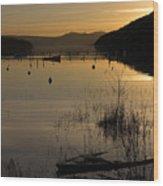 Sunset Over The Lake Wood Print