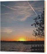 Sunset Over The Marina Wood Print