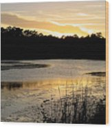 Sunset Over The Marsh Wood Print
