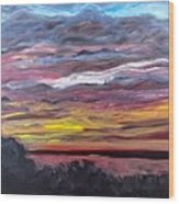Sunset Over The Mississippi Wood Print