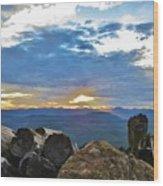Sunset Over The Mountain Range Wood Print