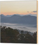 Sunset Over The Mountaintops Wood Print