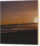 Sunset Over The Newport Beach Pier Wood Print