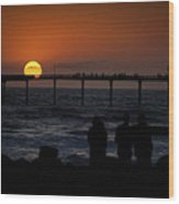Sunset Over The Pier Wood Print