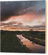 Sunset Over The River Wyre Wood Print
