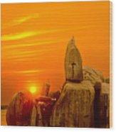 Bismarck Rock At Sunset Wood Print