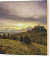 Sunset Over The Ruins Of Spis Castle In Slovakia Wood Print