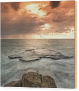 Sunset Over The Sea In Israel Wood Print