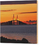 Sunset Over The Skyway Bridge Wood Print by Barbara Bowen