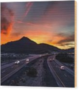 Sunset Over The Soda Mountains Wood Print