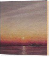 Sunset Over The Sunken Ship Wood Print