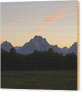 Sunset Over The Tetons Wood Print