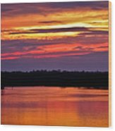 Sunset Over The Tomoka Wood Print