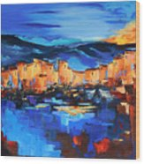 Sunset Over The Village 2 By Elise Palmigiani Wood Print
