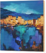 Sunset Over The Village 3 By Elise Palmigiani Wood Print