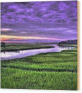 Sunset Over Turners Creek Savannah Tybee Island Ga Wood Print
