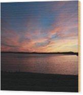 Sunset Over Wachusett Reservoir  Wood Print