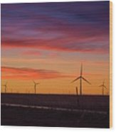 Sunset Over Windmills Field Wood Print