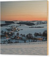 Sunset Over Winter Landscape Wood Print
