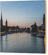 Sunset Over Zurich Wood Print