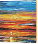 Sunset - Palette Knife Oil Painting On Canvas By Leonid Afremov Wood Print
