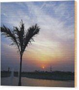Sunset - Palm Tree Wood Print