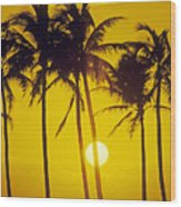 Sunset Palms And Family Wood Print
