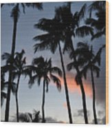 Sunset Palms Wood Print by Kelly Wade