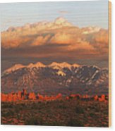 Sunset Panorama In Arches National Park Wood Print