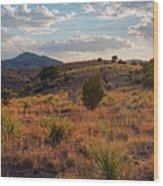 Sunset Panorama Of Blue Mountain At Davis Mountains State Park - Indian Lodge Trail Fort Davis Texas Wood Print