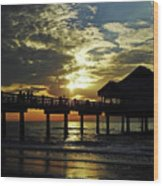 Sunset Pier Reflection Wood Print