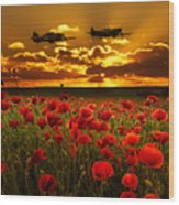 Sunset Poppies Fighter Command Wood Print