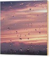 Sunset Raindrops Wood Print