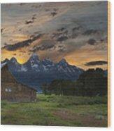 Moulton Barn Sunset Grand Teton National Park Wood Print