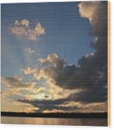 Sunset Rays On The Shore Wood Print