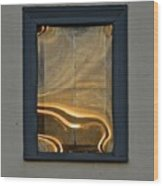 Sunset Reflection On Small Window Wood Print