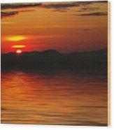 Sunset Reflection On The Lake Wood Print