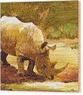 Sunset Rhino Wood Print