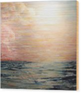 Sunset Right In The Middle Of An Ocean Wood Print