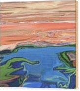 Sunset River Wood Print