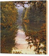 Sunset River View Wood Print