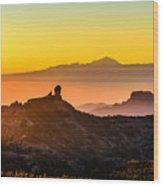 Sunset Roque Nublo Wood Print