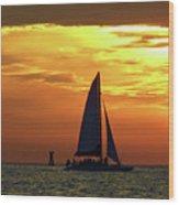 Sunset Sail Away Wood Print