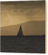 Sunset Sail Horizontal Wood Print