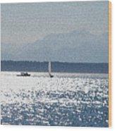Sunset Sailboats  Wood Print